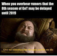 Waiting two years for the final season will be torture 😱😭 #GameOfThrones https://t.co/MVawXYYXL1: When you overhear rumors that the  8th season of GoT may be delayed  until 2019  Give me something for the  pain, and let me die  andie Waiting two years for the final season will be torture 😱😭 #GameOfThrones https://t.co/MVawXYYXL1