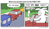 <p>When You Parallel Park on the FIRST TRY</p>: When you parallel park on the FIRST TRY  >.  DID YOU SEE THAT?  OH my GOD  DO I KNOW yoU?  THE BEST FEELINGS IN THE WORLD  JACOB ANDREWS <p>When You Parallel Park on the FIRST TRY</p>