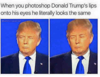 Almost like a Living Mr. PotatoHead.: When you photoshop Donald Trump's lips  onto his eyes he literally looks the same Almost like a Living Mr. PotatoHead.