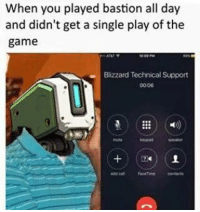 When you played bastion all day  and didn't get a single play of the  game  Blizzard Technical Support  0006 Straight on that phone -MacCready