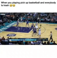 Philadelphia 76ers, Basketball, and Funny: When you playing pick up basketball and everybody  Is trash  76ERS 4/10  3-POINT FG  HORNETS 3/8  ST OTR 1:00 18 😂😂 funniest15 viralcypher funniest15seconds Www.viralcypher.com