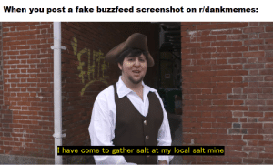 Fake, Buzzfeed, and Fuck: When you post a fake buzzfeed screenshot on rldankmemes:  I have come to gather salt at my local salt mine I mean fuck Buzzfeed but still