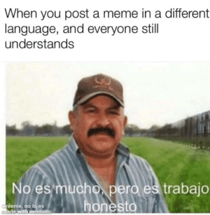 Mr. Worldwide: When you post a meme in a different  language, and everyone still  understands  No es mucho, pero es trabajo  honesto  Créeme, no lo es  made with mematic Mr. Worldwide