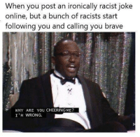 Lmao, Brave, and Racist: When you post an ironically racist joke  online, but a bunch of racists start  following you and calling you brave  WHY ARE YOU CHEERINGME?  I'M WRONG. LMAO