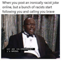 Brave, Racist, and Online: When you post an ironically racist joke  online, but a bunch of racists start  following you and calling you brave  WHY ARE YOU CHEERING ME?  I 'M WRONG. Wait, what?