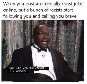 Dank, Memes, and Target: When you post an ironically racist joke  online, but a bunch of racists start  following you and calling you brave  WHY ARE YOU CHEERING ME?  I 'M WRONG. Wait, what? by redditneonate MORE MEMES