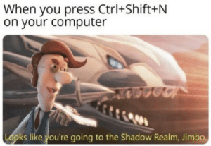 The Shadow: When you press Ctrl+Shift+N  on your computer  Looks like you're going to the Shadow Realm, Jimbo.