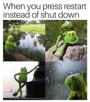 MeIRL, Down, and You: When you press restart  instead of shut down meirl