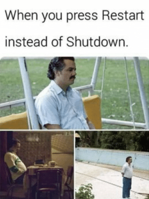MeIRL, You, and Press: When you press Restart  instead of Shutdown. Meirl