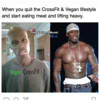 😂😂😂: When you quit the CrossFit & Vegan lifestyle  and start eating meat and lifting heavy.  Then Gainz Official  Vegan  CrossFit 😂😂😂