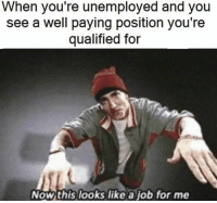 This Looks Like A Job For: When you re unemployed and you  see a well paying position you're  qualified for  Now this looks like a job for me