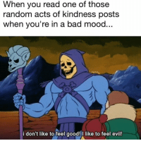 Bad, Mood, and Good: When you read one of thosee  random acts of kindness posts  when you're in a bad mood  i don't like to feel good!I like to feel evil!
