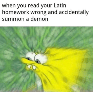 summon: when you read your Latin  homework wrong and accidentally  summon a demon