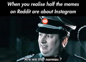 Just another meta by n0face76 MORE MEMES: When you realise half the memes  on Reddit are about Instagram  Are we the normies? Just another meta by n0face76 MORE MEMES