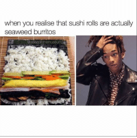 Memes, Sushi, and 🤖: when you realise that sushi rolls are actually  seaweed burritos  @asleepinthemuseum @asleepinthemuseum uncovers all of life's great mysteries. Follow @asleepinthemuseum for stunning memes! (RP @asleepinthemuseum)