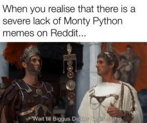 Always look on the bright side of life…: When you realise that there is a  severe lack of Monty Python  memes on Reddit...  Wait till Biggus Dickus  hears of this. Always look on the bright side of life…