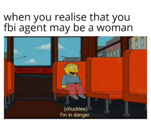 Hope no one forgot this format: when you realise that you  fbi agent may be a woman  EMERGENCY EXIT  (chuckles)  I'm in danger. Hope no one forgot this format
