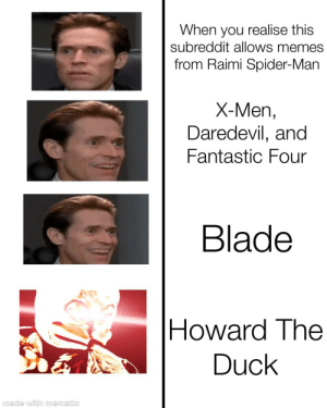 Avengers...Assemble: When you realise this  subreddit allows memes  from Raimi Spider-Man  X-Men,  Daredevil, and  Fantastic Four  Blade  Howard The  Duck  made with mematic Avengers...Assemble