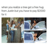 Free, Tree, and Trees: when you realize a tree got a free hug  from Justin but you have to pay $2000  for it im basically a tree