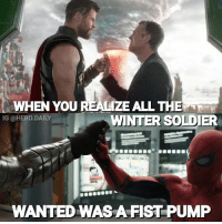 Memes, Winter, and Hulk: WHEN YOU REALIZE ALL THE RTO  WINTER SOLDIER  IG @HERO.DAILY  WANTED WASAFIST PUMP Who did it better? 🤣 ThorRagnarok thor InfinityWar avengers hulk wintersolider spiderman civilwar fistpump mcu marvelcomics marvelcinematicuniverse comicbookmemes memes comicbooks comicbook heroes marvel