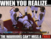 Good Game so far👀 nbafinals nbamemes cavs warriors nba: WHEN YOU REALIZE  BAMEMES  at GS 19 CLE  19  1st S:48  Gs ads 20  obc  TIMEOUT G  TIMEOUTS  THE WARRIORS CANTMISSA  THREE Good Game so far👀 nbafinals nbamemes cavs warriors nba