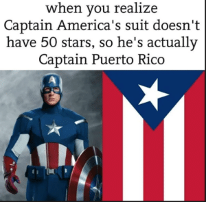 captain america is celebrating hispanic heritage month with us!!: when you realize  Captain America's suit doesn't  have 50 stars, so he's actually  Captain Puerto Rico captain america is celebrating hispanic heritage month with us!!