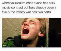 Chris Evans, Gif, and Movies: when you realize chris evans has a six  movie contract but he's already been in  five & the infinity war has two parts  GIF ~Captain Deadpool