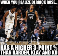 He been on fire recently 🔥🌹: WHEN YOU REALIZE DERRICK ROSE..  MBERWO  1S  @NBAMEMES  es  HAS A HIGHER 3-POINT %  THAN HARDEN, KLAY, AND KD He been on fire recently 🔥🌹