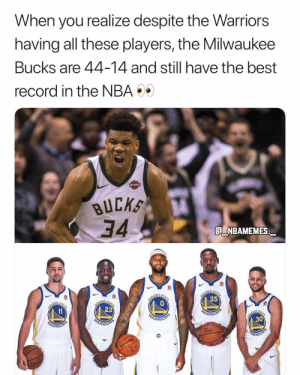 How far will the Bucks go this season? 👀🔥 - Follow @_nbamemes._: When you realize despite the Warriors  having all these players, the Milwaukee  Bucks are 44-14 and still have the best  record in the NBA  BUCK  34.  Q NBAMEMES  35  23  ARR  30  ARRI  ARR How far will the Bucks go this season? 👀🔥 - Follow @_nbamemes._