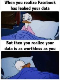 Facebook, Data, and You: When you realize Facebook  has leaked your data  But then you realize your  data is as worthless as you Really does feel that way sometimes