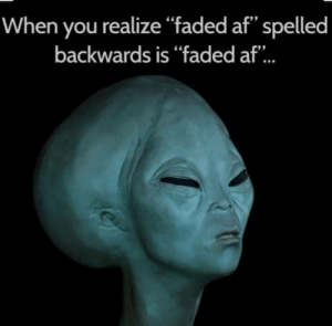 "Af, Faded, and You: When you realize ""faded af"" spelled  backwards is ""faded af.. Hmmmm"