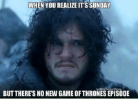 game of thrones episode: WHEN YOU REALIZE IT'S SUNDAY  witter.com/LordSnow  BUT THERE'S NO NEW GAME OF THRONES EPISODE