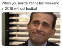 Football, Memes, and Nfl: When you realize it's the last weekend  in 2018 without football  @NFL MEMES Thank you lord 🙏🏻