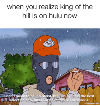 Hulu, King of the Hill, and Best: when you realize king of the  hill is on hulu now  ㄍㄟ  ldon't mean to sound-racist but-this by far is the best  1A sélection of.beansil  ever seen. I'm serious,  meemcnet Tell you whhat