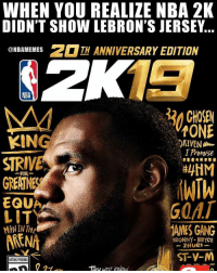 Basketball, Lit, and Nba: WHEN YOU REALIZE NBA 21K  DIDN'T SHOW LEBRON'S JERSEY  ONBAMEMESTH ANNIVERSARY EDITION  NBA  tONE  KING  STRIVE  GREAT  FOR  RNE  G0AT  AMES GANG  LIT  BRONNY BRYCE  ZHURI  ST-V-M  RATING PENDING They know he gone😂 nba nbamemes nbafinals nbaplayoffs lebron