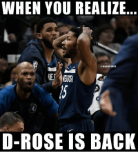Nba, Rose, and Back: WHEN YOU REALIZE  @NBAMEMES  D-ROSE IS BACK GoodMorning