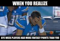 Philip Rivers: 12/23 138 Yards, 3 INT, 1 Fumble Chargers get shutout 37-0.: WHEN YOU REALIZE  ONFLMEMEL  BYE WEEK PLAYERS HAD MORE FANTASY POINTSTHAN YOU Philip Rivers: 12/23 138 Yards, 3 INT, 1 Fumble Chargers get shutout 37-0.
