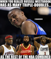 Russell Westbrook has 9 triple-doubles.  So does everyone else combined.: WHEN YOU REALIZE RUSSELL WESTBROOK  HAS AS MANYTRIPLE-DOUBLES  @NBAMEMES  AS THE REST OF THE NBACOMBINED Russell Westbrook has 9 triple-doubles.  So does everyone else combined.