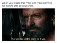 Ironic, Memes, and World: When you realize that more and more normies  are getting into ironic memes.  The world is not the same as it was. <p>2k17 will be the year of normies</p>