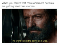 Memes, Normie, and 🤖: When you realize that more and more normies  are getting into ironic memes  The world is not the same as it was