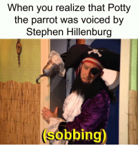 Stephen, Parrot, and Rip: When you realize that Potty  the parrot was voiced by  Stephen Hillenburg  (sobbing) RIP Potty
