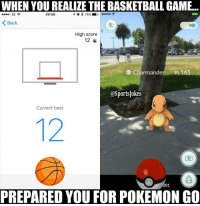 WHEN YOU REALIZE THE BASKETBALLGAME.  to 74%  09:58  EE  K Back  High score  12 L  Charmander PL165  OSportsjokes  Current best  201  PREPARED YOU FOR POKEMON GO Lol 😂 4realz same moves hahaa DoubleTap if u know anyone playing it Tag friends that play Pokémon go lol