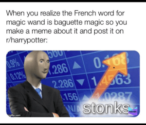 Baguette Magic: When you realize the French word for  magic wand is baguette magic so you  make a meme about it and post it on  r/harrypotter:  0.9%  0.12%  0168  286  2.286 14563  156  0287  stonks  ngflip.com  MEMES Baguette Magic