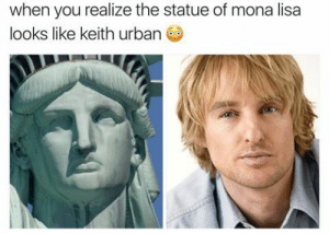 Tumblr, Mona Lisa, and Blog: when you realize the statue of mona lisa  looks like keith urban memehumor:  The statue of mona lisa
