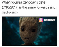 My mind is blown. 💥: When you realize today's date  (7/10/2017) is the same forwards and  backwards  MARVELTRUEFACTS My mind is blown. 💥
