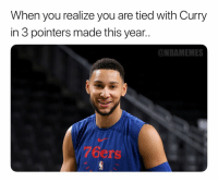 Basketball, Nba, and Sports: When you realize you are tied with Curry  in 3 pointers made this year..  ONBAMEMES  7Gers Splash brother 💦