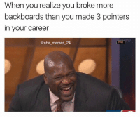 Shaq made only ONE three pointer in his career 😳😂 First person to comment who it was against and the team he was on gets a shoutout! 👇 nbamemes nba_memes_24: When you realize you broke more  backboards than you made 3 pointers  in your career  @nba memes 24  K41 Shaq made only ONE three pointer in his career 😳😂 First person to comment who it was against and the team he was on gets a shoutout! 👇 nbamemes nba_memes_24