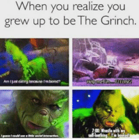 the grinch: When you realize you  grew up to be The Grinch.  Amljalcating because rmbornd?  EELIN