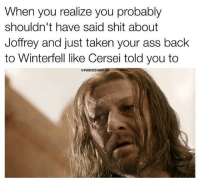 Ass, Dumb, and Memes: When you realize you probably  shouldn't have said shit about  Joffrey and just taken your ass back  to Winterfell like Cersei told you to  PUREICEANDFI Do you think Ned was Dumb or just way too honorable for Westeros