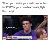 Memes, True, and Game: When you realize your real competition  for ROTY is your own teammate, Kyle  Kuzma  Rapid Highlights  G NBAMEMES.  AK2 LONZO BALL  Out for 3rd straight game (sprained left ankle  KERS  Subscribe That's true 💀😂👀 - Follow @_nbamemes._